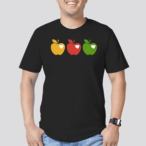 Apple Hearts Love to Teach Men's Fitted T-Shirt (d
