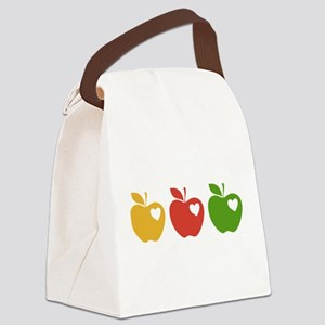 Apple Hearts Love to Teach Canvas Lunch Bag