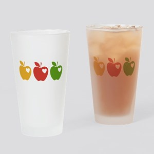 Apple Hearts Love to Teach Drinking Glass