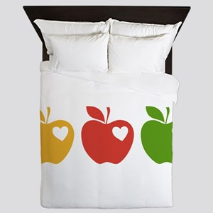 Apple Hearts Love to Teach Queen Duvet