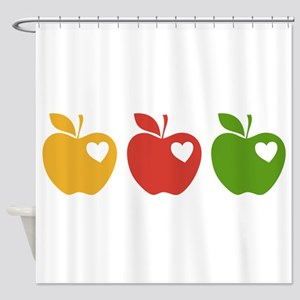 Apple Hearts Love to Teach Shower Curtain