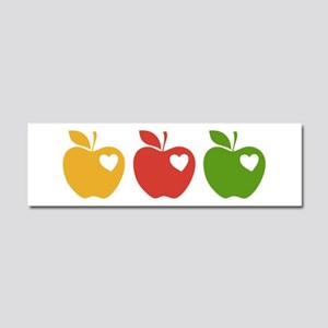 Apple Hearts Love to Teach Car Magnet 10 x 3