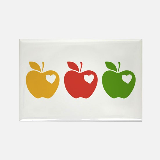 Apple Hearts Love to Teach Rectangle Magnet