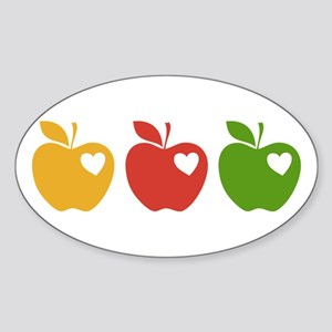 Apple Hearts Love to Teach Sticker (Oval)