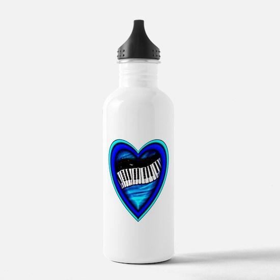 Piano Heart Water Bottle