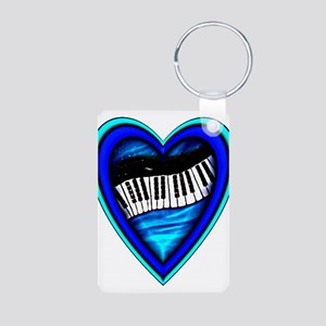 Piano Heart Aluminum Photo Keychain