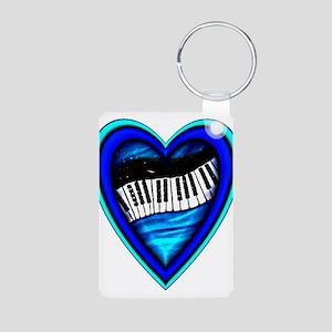 Piano Heart Aluminum Photo Keychain
