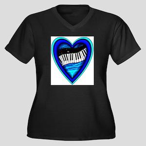 Piano Heart Women's Plus Size V-Neck Dark T-Shirt