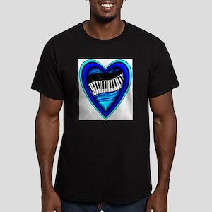 Piano Heart Men's Fitted T-Shirt (dark)
