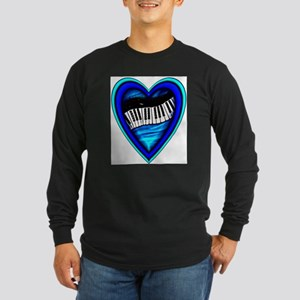 Piano Heart Long Sleeve Dark T-Shirt