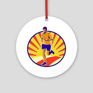 Marathon Runner Athlete Running Ornament (Round)