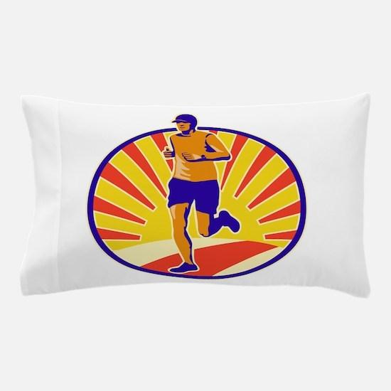 Marathon Runner Athlete Running Pillow Case