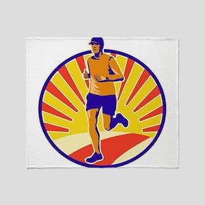 Marathon Runner Athlete Running Throw Blanket