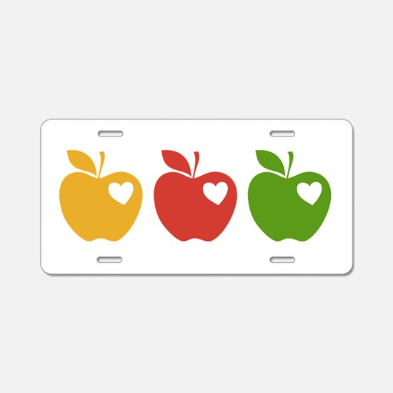 Apple Hearts Love to Teach Aluminum License Plate