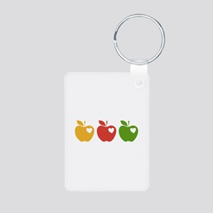 Apple Hearts Love to Teach Aluminum Photo Keychain