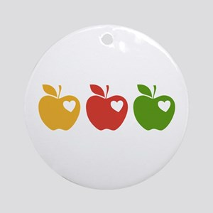 Apple Hearts Love to Teach Ornament (Round)