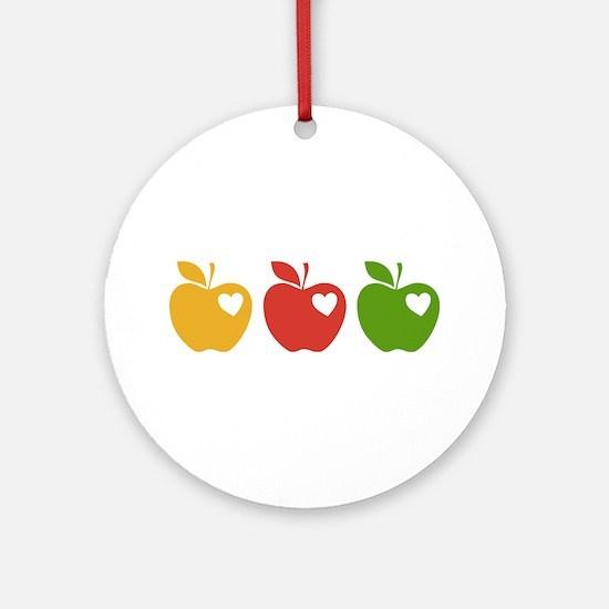 Apple Hearts Love to Teach Ornament (Round)