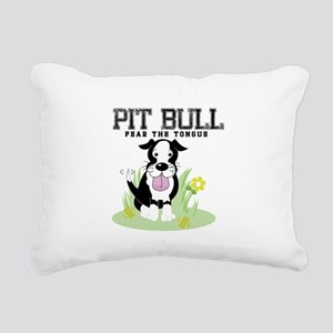 Pit Bull Fear the Tongue Rectangular Canvas Pillow