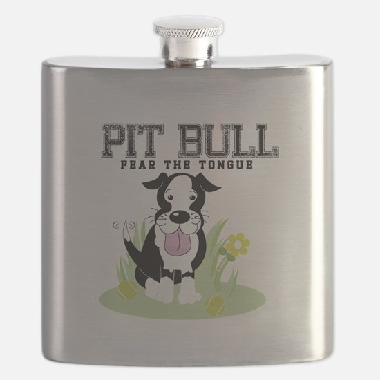 Pit Bull Fear the Tongue Flask