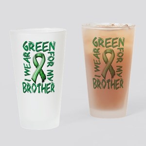 I Wear Green for my Brother Drinking Glass
