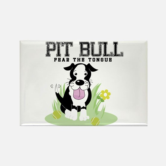 Pit Bull Fear the Tongue Rectangle Magnet (100 pac