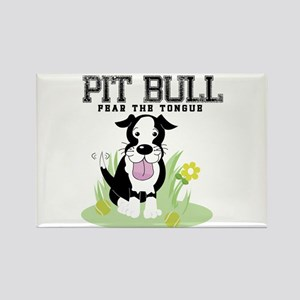 Pit Bull Fear the Tongue Rectangle Magnet