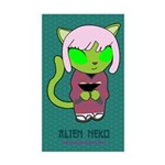 Alien Neko Kimono Sticker (Rectangle)