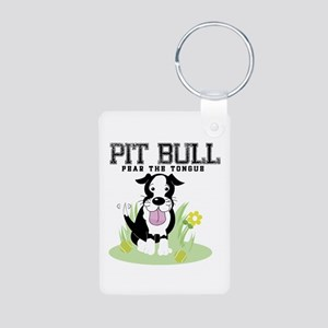 Pit Bull Fear the Tongue Aluminum Photo Keychain