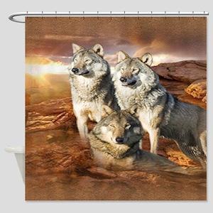 Wolves Trio Shower Curtain