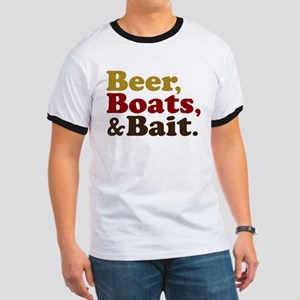 Beer Boats and Bait Fishing Ringer T