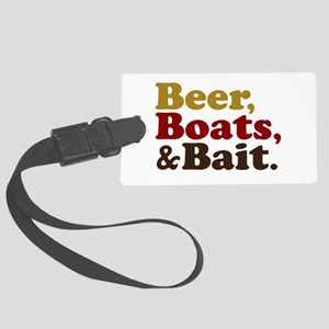 Beer Boats and Bait Fishing Large Luggage Tag