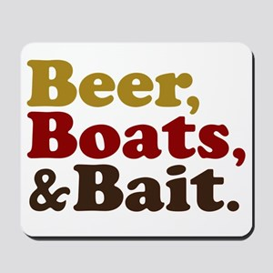 Beer Boats and Bait Fishing Mousepad