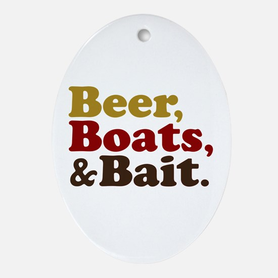 Beer Boats and Bait Fishing Ornament (Oval)