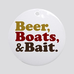 Beer Boats and Bait Fishing Ornament (Round)