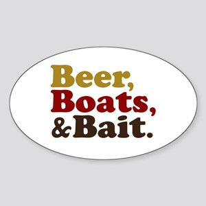 Beer Boats and Bait Fishing Sticker (Oval)