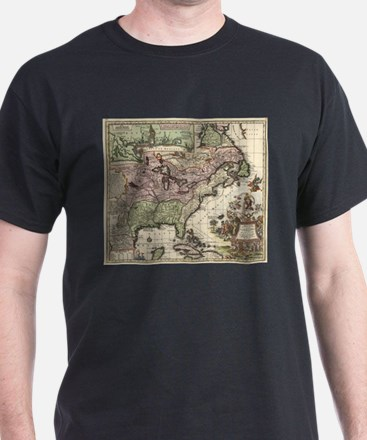 Vintage Map of America (1720) T-Shirt