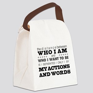 My Actions and Words Grey/Black Canvas Lunch Bag
