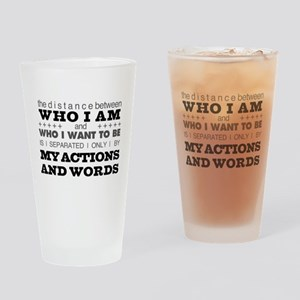 My Actions and Words Grey/Black Drinking Glass
