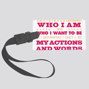 My Actions and Words Pink/Orange Large Luggage Tag