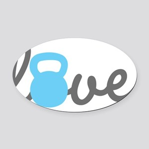 Love Kettlebell Blue Oval Car Magnet