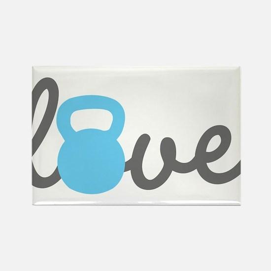 Love Kettlebell Blue Rectangle Magnet