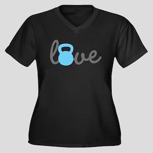 Love Kettlebell Blue Women's Plus Size V-Neck Dark