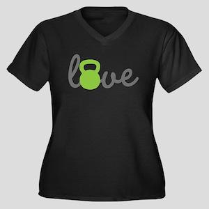Love Kettlebell Green Women's Plus Size V-Neck Dar