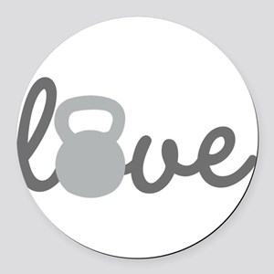 Love Kettlebell Grey Round Car Magnet