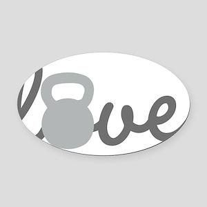Love Kettlebell Grey Oval Car Magnet