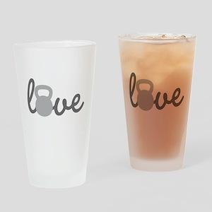Love Kettlebell Grey Drinking Glass