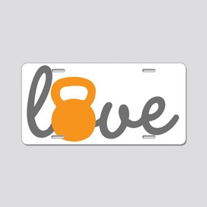 Love Kettlebell in Orange Aluminum License Plate