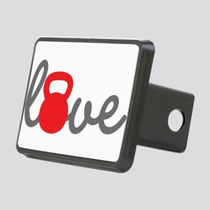Love Kettlebell in Red Rectangular Hitch Cover