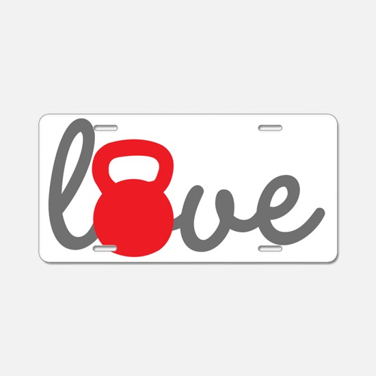 Love Kettlebell in Red Aluminum License Plate