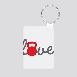 Love Kettlebell in Red Aluminum Photo Keychain